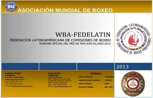 WBA FEDELATIN Ranking as of MAY/JUN/JUL/AGO 2013