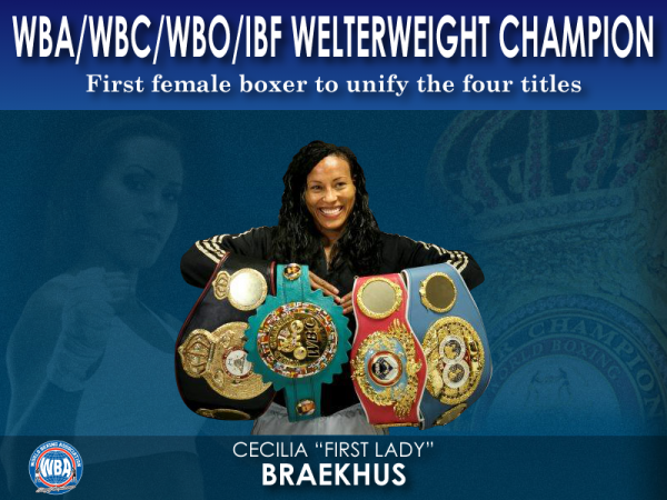 """WBA Congratulates """"The First Lady"""" for Unifying the four major boxing organization titles"""