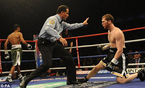 Actions of a referee during legal knockdowns, with Luis Pabón