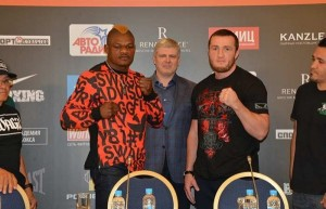 Lebedev vs Kalenga face to face at a press conference in Moscow