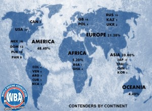 American continent with the largest presence in the WBA rankings