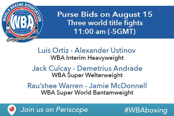 WBA Purse Bids Today