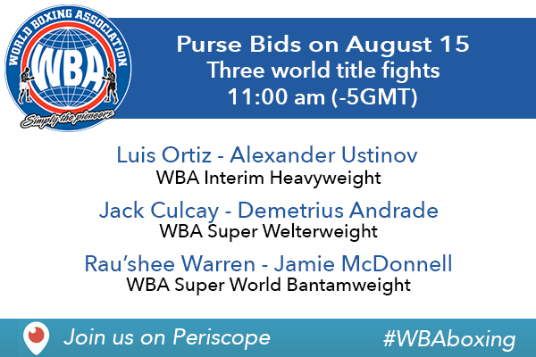 WBA Purse Bids Today