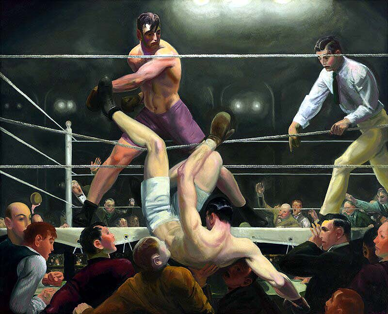 "The painting ""Dempsey and Firpo"" hangs in the Whitney Museum of American Art."