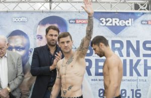 6 October 2016 St Enoch Shopping Centre Glasgow, Scotland  Ricky Burns prepares for WBA title defence against Kiryl Relikh  Picture shows l-r Ricky Burns ( WBA World Boxing Champion) and KirylRelikh at the Weigh-in  in Glasgow