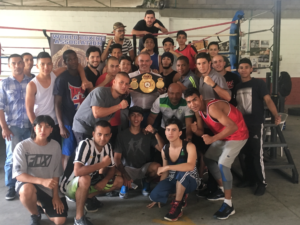 Gilberto Mendoza visited young boxers of Medellin