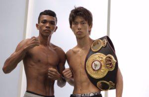 Barrera y Taguchi en peso. Foto: Boxeo de Colombia.