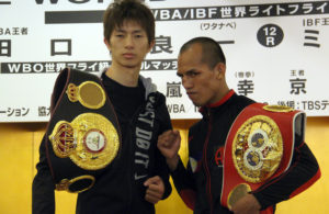 Taguchi and Melindo make weight for their year-end fight.