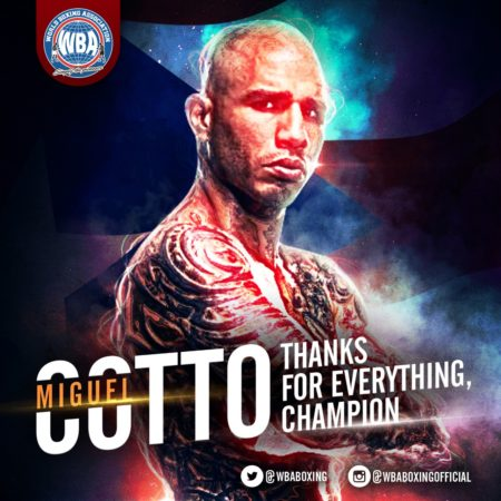 Thanks to the giant Puerto Rican: Miguel Cotto.