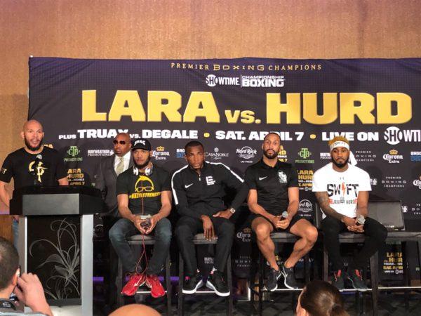 Lara y Hurd hablaron con la prensa en Las Vegas.