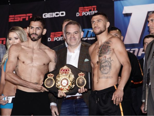 Lomachenko and Linares Make Weight. Photo: Marcelino Castillo.