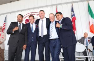 Klitschko, Morales, and Wright Immortalized in Canastota. Photo: Marcelino Castillo.