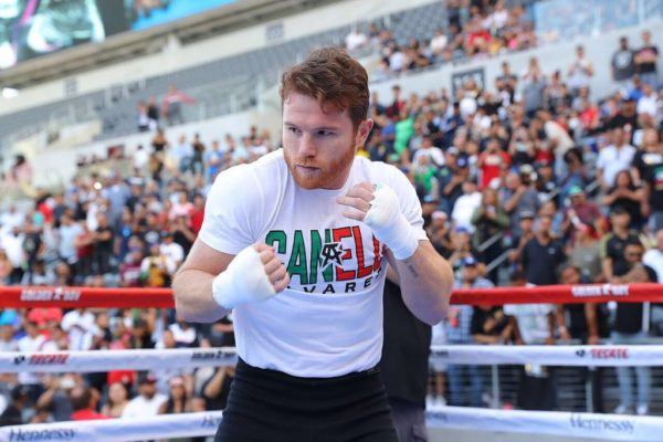 'Canelo' and 'GGG' are hyping their rematch with fans in Los Angeles . Photo: Tom Hogan.