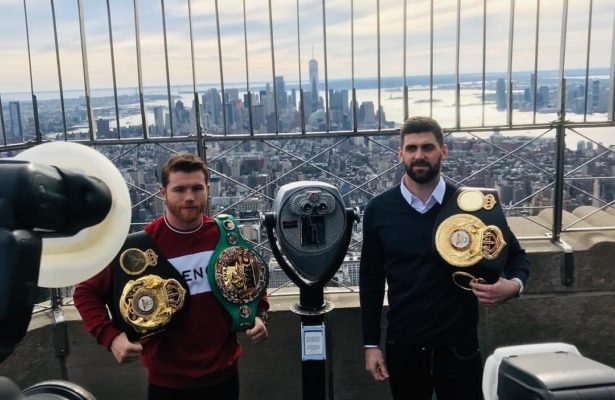 Canelo and Fielding promote fight in New York. Photo: Matchroom Boxing