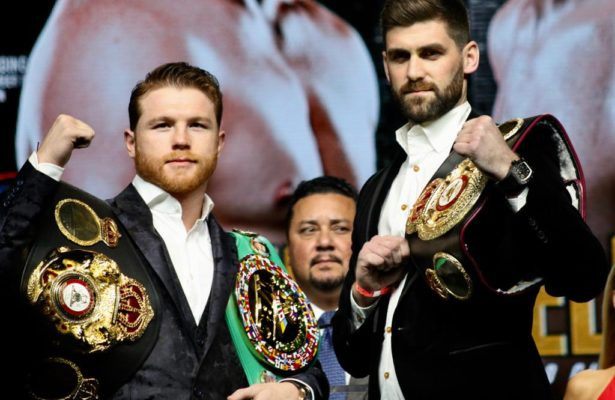 Canelo and Fielding meet at the Big Apple for press conference. Photo: Marcelino Castillo