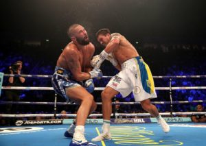 Usyk knocks out Bellew in Manchester. Photo: Marcelino Castillo