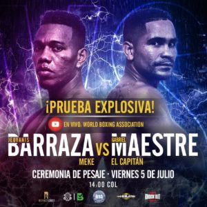 Official weigh-in Prueba Explosiva – Jeovanis Barraza vs Gabriel Maestre