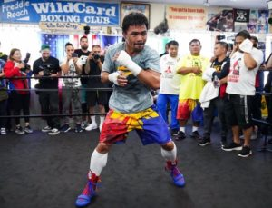 Thurman and Pacquiao hold media workouts 2500 miles apart