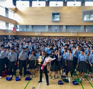 Naoko Fujioka visited her alma mater to carry a message of overcoming in Japan