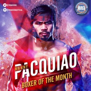Manny Pacquiao– Boxer of the month July 2019