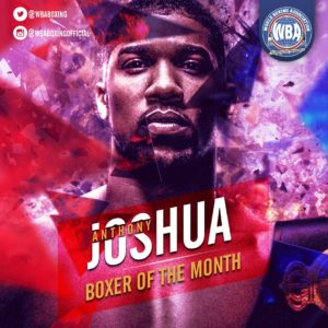Anthony Joshua is the WBA Boxer of the Month
