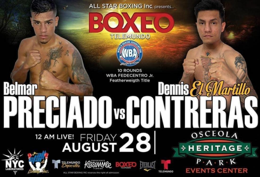 Preciado-Contreras for the WBA-Fedecentro Featherweight title in Kissimmee