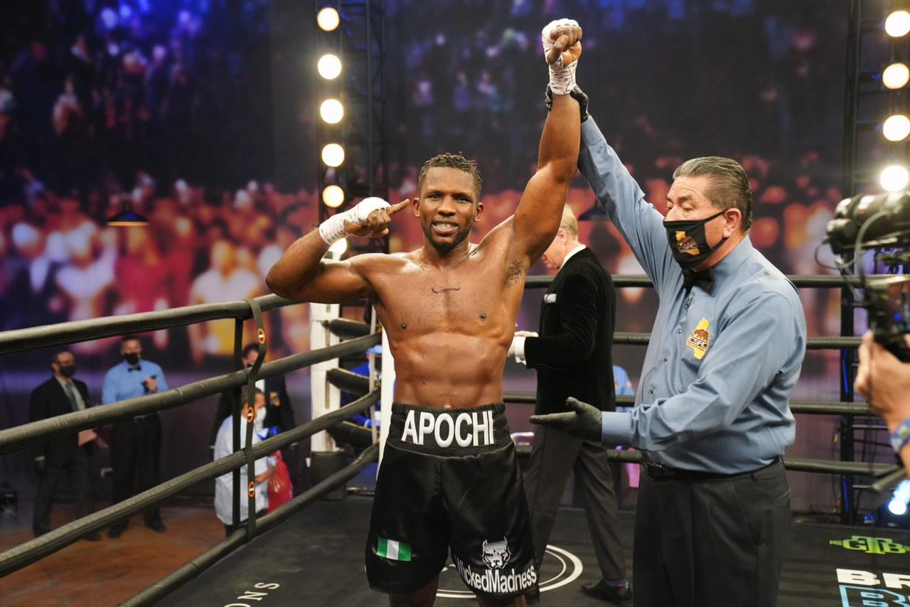 Efetobor Apochi defeated Deon Nicholson by TKO in WBA title eliminator
